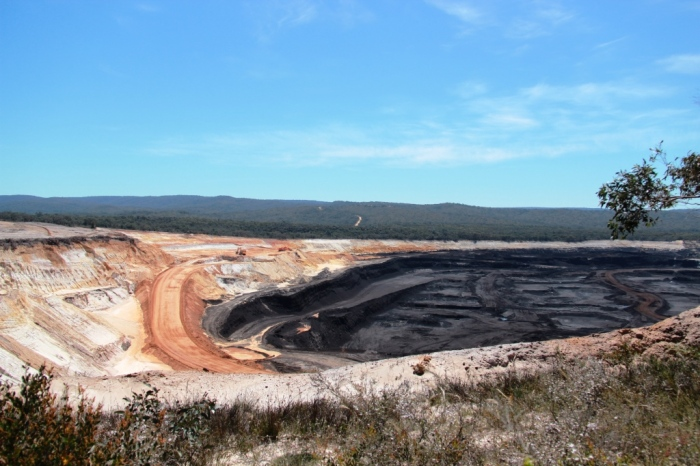 Open-cut coal mine - note the tiny excavator on the left for scale